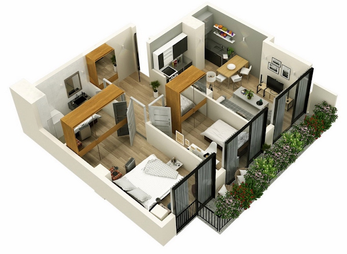 Planning of the apartment 2-bedroom apartments, 70.65 in Mindelis Diamond, Tbilisi