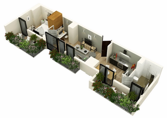 Planning of the apartment 2-bedroom apartments, 53.5 in Mindelis Diamond, Tbilisi
