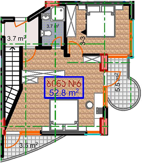 Planning of the apartment 2-bedroom apartments, 52.8 in Marine House, Batumi