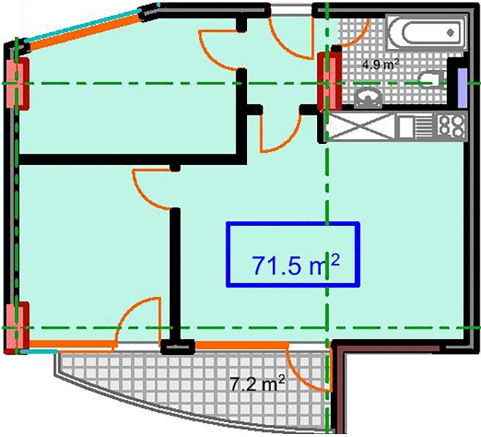 Planning of the apartment 2-bedroom apartments, 71.5 in Marine House, Batumi