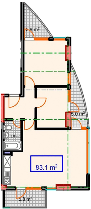 Planning of the apartment 2-bedroom apartments, 83.1 in Marine House, Batumi