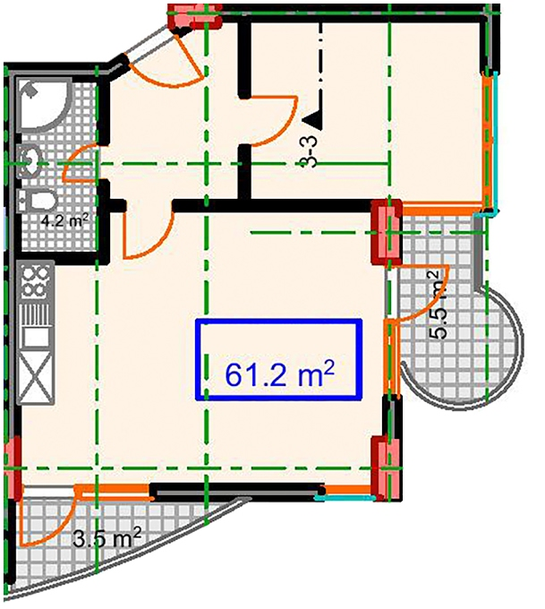 Planning of the apartment 1-bedroom apartments, 61.2 in Marine House, Batumi