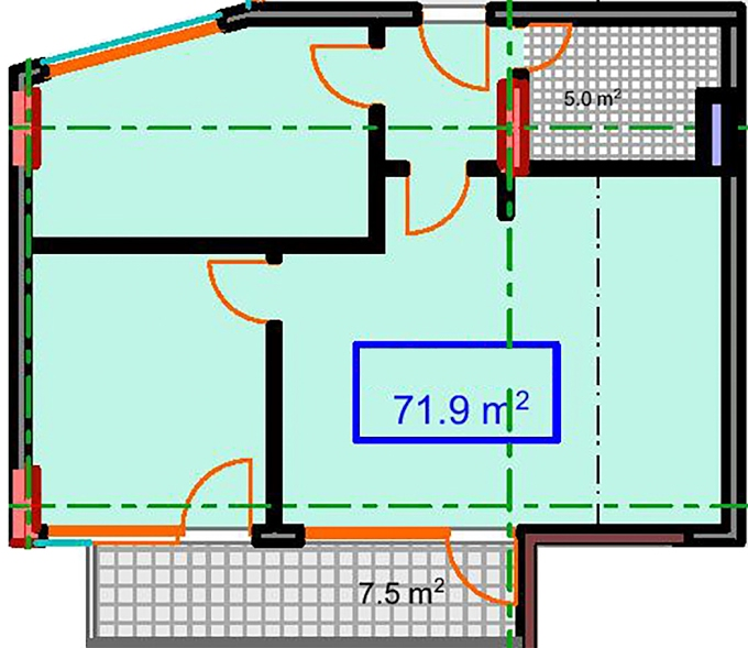 Planning of the apartment 2-bedroom apartments, 71.9 in Marine House, Batumi