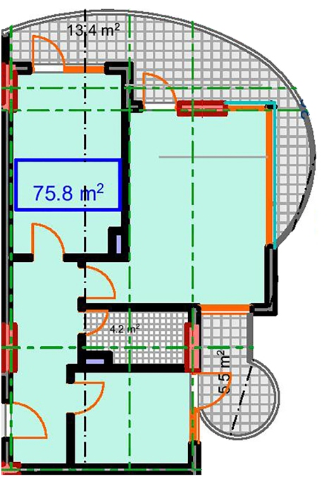 Planning of the apartment 2-bedroom apartments, 75.8 in Marine House, Batumi