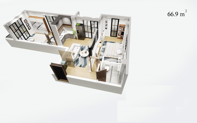 Planning of the apartment 2-bedroom apartments, 66.9 in House on Isakiani, Tbilisi