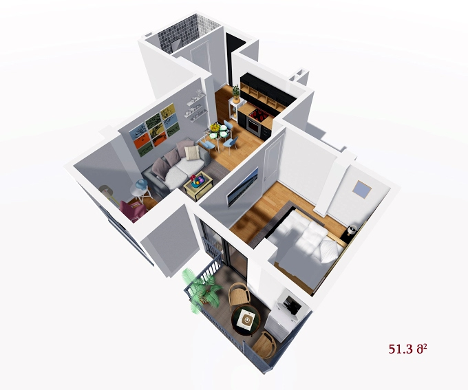 Planning of the apartment 1-bedroom apartments, 51.3 in House on Petritsi 8b, Tbilisi