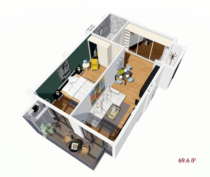 Planning of the apartment 1-bedroom apartments, 69.6 in House on Petritsi 8b, Tbilisi