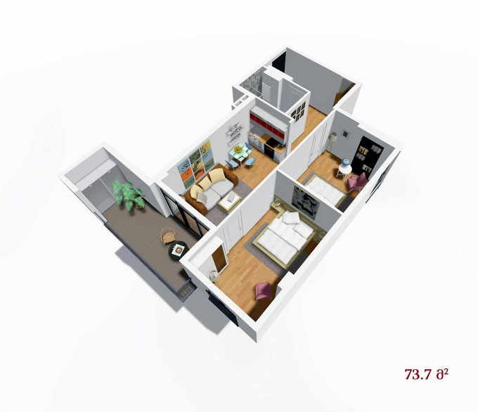 Planning of the apartment 2-bedroom apartments, 73.7 in House on Petritsi 8b, Tbilisi