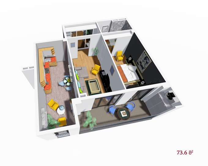 Planning of the apartment 1-bedroom apartments, 73.6 in House on Petritsi 8b, Tbilisi