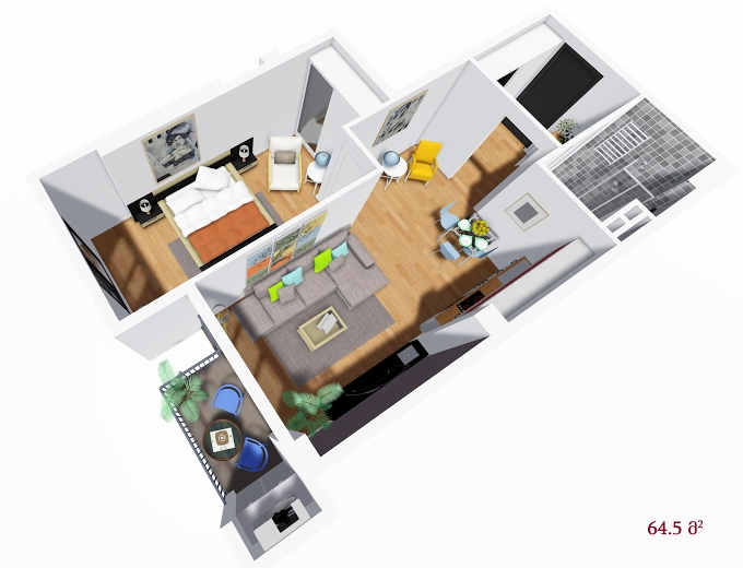 Planning of the apartment 1-bedroom apartments, 64.5 in House on Petritsi 8b, Tbilisi