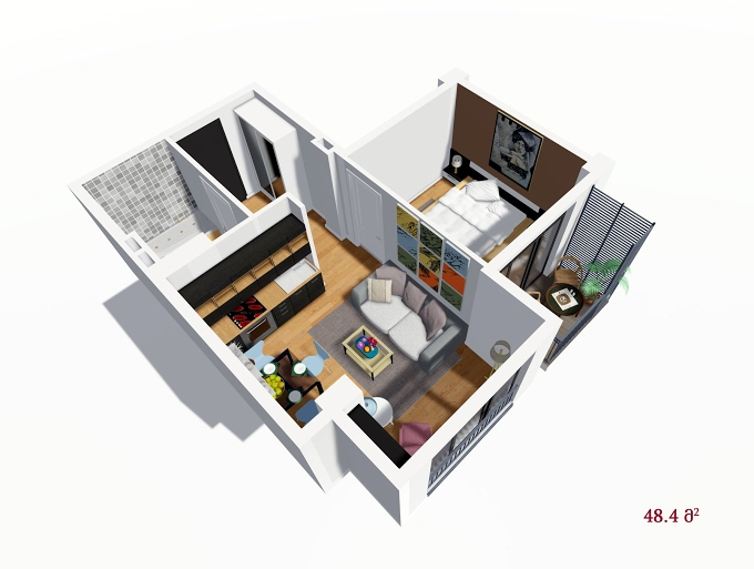 Planning of the apartment 1-bedroom apartments, 48.4 in House on Petritsi 8b, Tbilisi