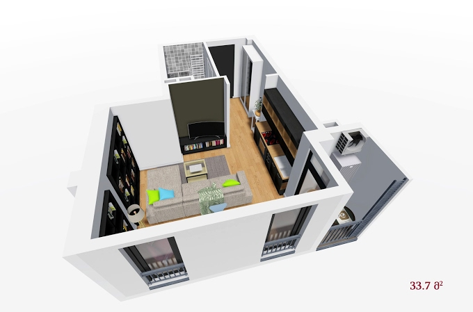 Planning of the apartment Studios, 33.7 in House on Petritsi 8b, Tbilisi