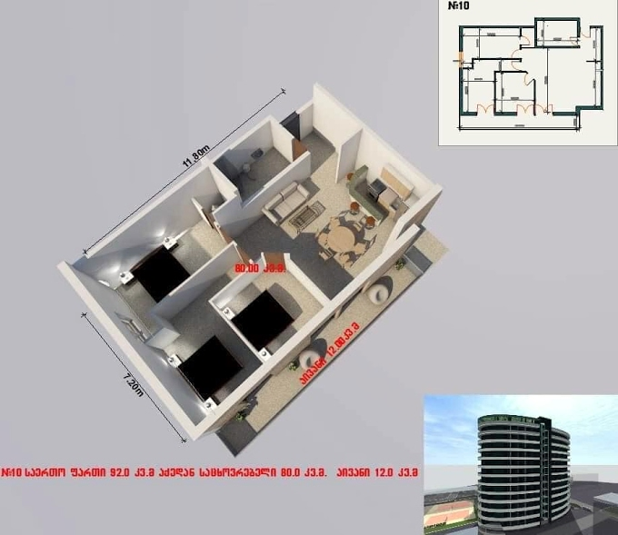 Planning of the apartment 3-bedroom apartments, 92 in House on Shartava 4, Rustavi