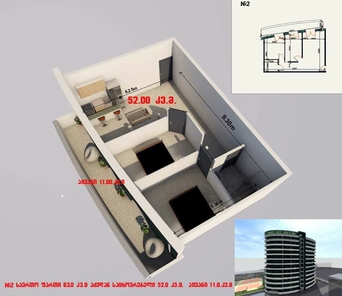 Planning of the apartment 2-bedroom apartments, 63 in House on Shartava 4, Rustavi