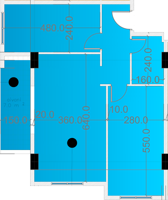 Planning of the apartment 3-bedroom apartments, 67.9 in Eco City, Batumi