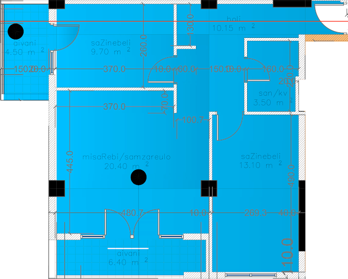 Planning of the apartment 3-bedroom apartments, 69.7 in Eco City, Batumi