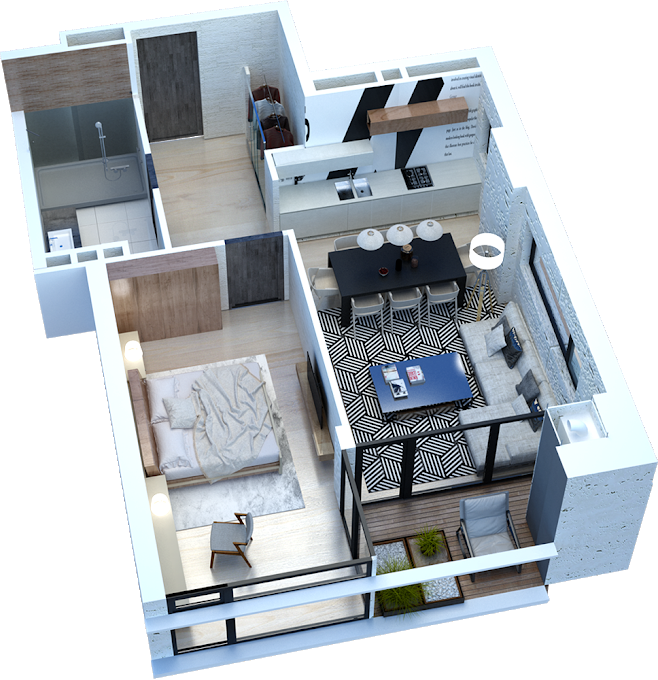 1-bedroom, 354 175 GEL, 56.1 m2, Axis Chavchavadze 49