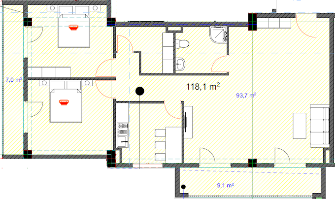 Planning of the apartment 2-bedroom apartments, 118.1 in House on Danibegashvili 8, Tbilisi
