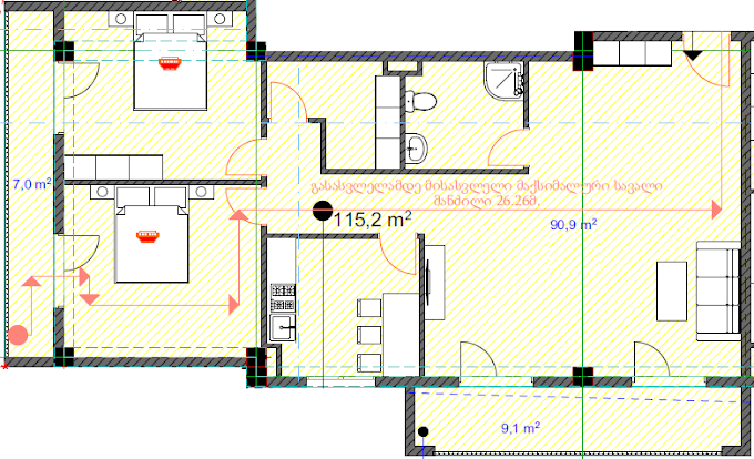 Planning of the apartment 2-bedroom apartments, 115.2 in House on Danibegashvili 8, Tbilisi