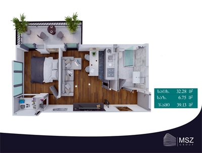 Planning of the apartment 1-bedroom apartments, 39.13 in Gori Palace, Tbilisi