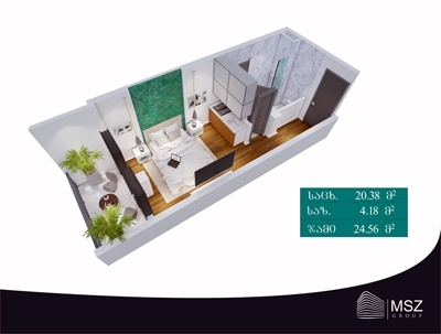 Planning of the apartment Studios, 24.56 in Gori Palace, Tbilisi