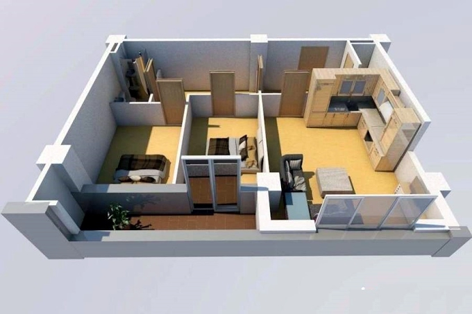 Planning of the apartment 2-bedroom apartments, 55 in House on Shandor Petepi 42, 44, Tbilisi