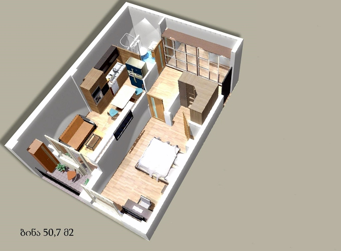 Planning of the apartment 1-bedroom apartments, 50.7 in House on Godziashvili 6, Tbilisi
