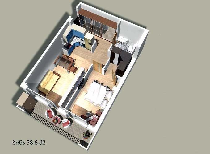 Planning of the apartment 1-bedroom apartments, 58.6 in House on Godziashvili 6, Tbilisi