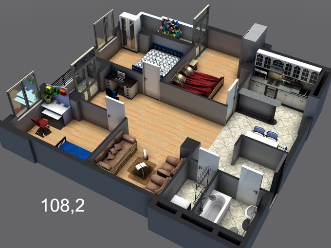Planning of the apartment 3-bedroom apartments, 108.2 in House on Shartava 25, Rustavi