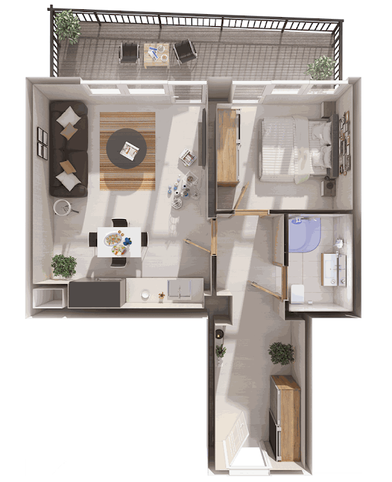 Planning of the apartment 1-bedroom apartments, 64.4 in Archi Tower, Tbilisi