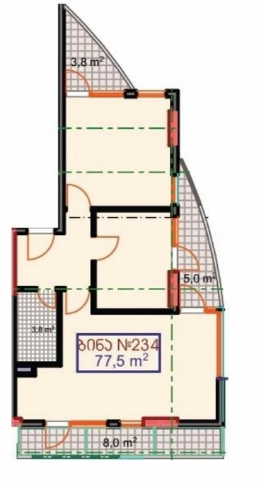 Planning of the apartment 2-bedroom apartments, 77.5 in Marine House, Batumi