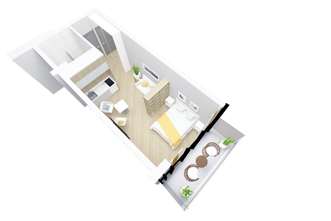 Planning of the apartment Studios, 35 in Navi, Batumi