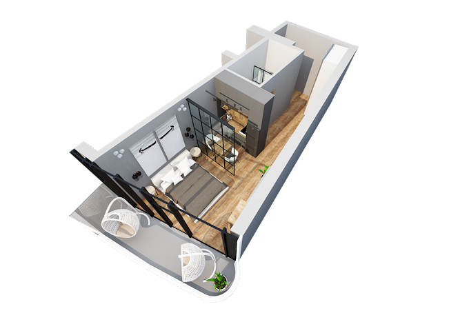 Planning of the apartment Studios, 44.5 in Navi, Batumi