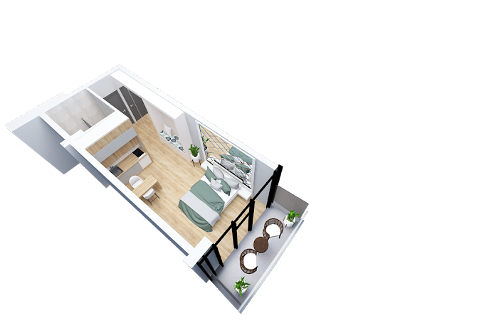 Planning of the apartment Studios, 37.5 in Navi, Batumi