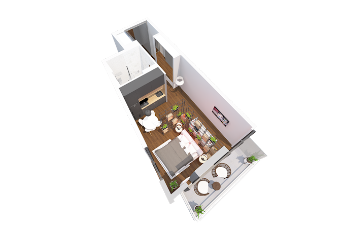 Planning of the apartment Studios, 48 in Navi, Batumi