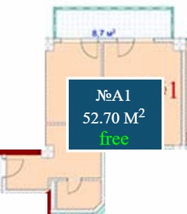 Planning of the apartment 1-bedroom apartments, 52.7 in Mardi Mall, Batumi