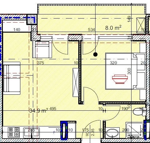 Planning of the apartment Studios, 42.9 in House on Kandelaki 61, 59, Tbilisi