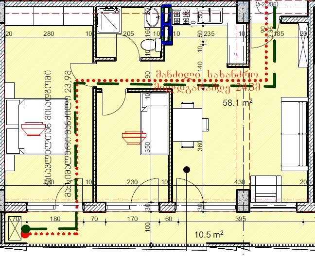 Planning of the apartment 2-bedroom apartments, 68.7 in House on Kandelaki 61, 59, Tbilisi
