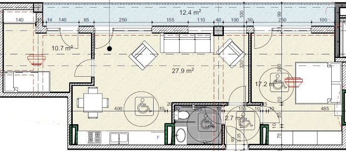 Planning of the apartment 2-bedroom apartments, 75.7 in House on Kandelaki 61, 59, Tbilisi