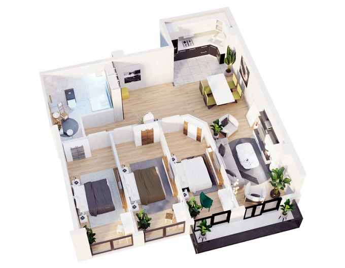Planning of the apartment 3-bedroom apartments, 101.1 in Ecocity Samgori, Tbilisi