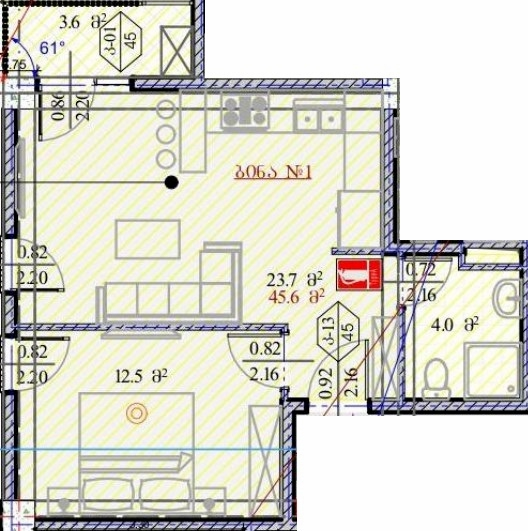 Planning of the apartment Studios, 45.6 in House on Dmitry Alexidze 12, Tbilisi