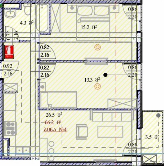 Planning of the apartment 2-bedroom apartments, 66.2 in House on Dmitry Alexidze 12, Tbilisi