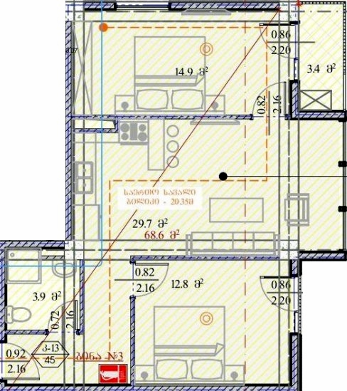 Planning of the apartment 2-bedroom apartments, 68.6 in House on Dmitry Alexidze 12, Tbilisi