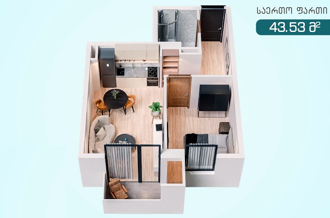 Planning of the apartment 1-bedroom apartments, 43.53 in T-estate Did Digomshi, Tbilisi