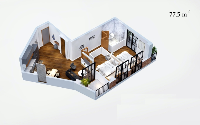 Planning of the apartment 2-bedroom apartments, 77.5 in House on Isakiani, Tbilisi