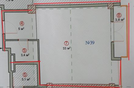 Planning of the apartment Studios, 49 in Taomsheni, Batumi