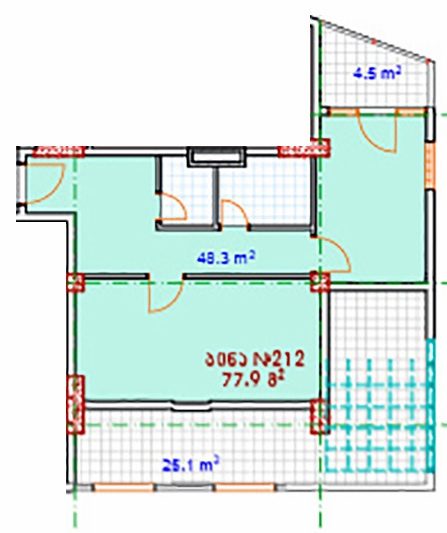 Planning of the apartment 2-bedroom apartments, 77.9 in House on Vaja Pshavela 53, Batumi