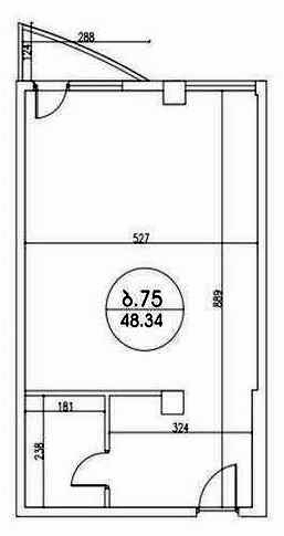 Planning of the apartment Studios, 48.34 in Kobuleti Residence, Batumi