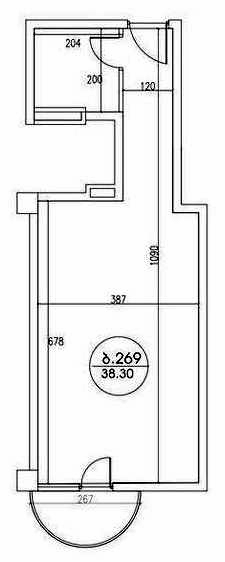 Planning of the apartment Studios, 38.3 in Kobuleti Residence, Batumi