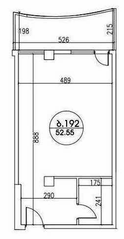 Planning of the apartment Studios, 52.55 in Kobuleti Residence, Batumi
